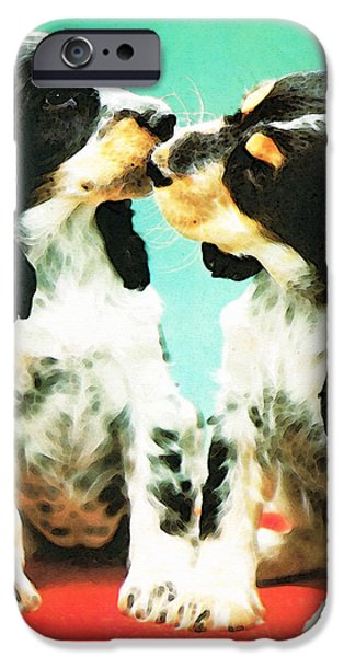Kiss Me - Cocker Spaniel Art by Sharon Cummings iPhone Case by Sharon Cummings