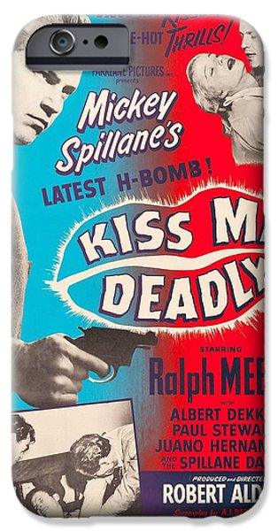 1950s Movies iPhone Cases - Kiss Me Deadly - 1955 iPhone Case by Nomad Art And  Design