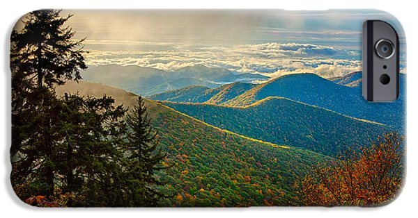 Tree Art Print iPhone Cases - Kiss of Sunshine - Blue Ridge Mountains I iPhone Case by Dan Carmichael
