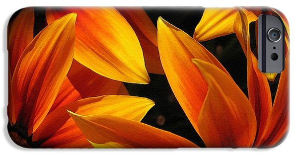 Asymmetrical iPhone Cases - Kiss Orange Flame Abstract iPhone Case by J McCombie