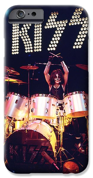 Bands On Stage iPhone Cases - KISS - Peter Criss 1973 iPhone Case by Epic Rights