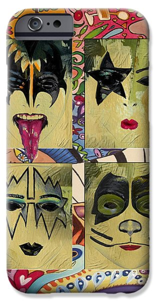 Heavy Metal Paintings iPhone Cases - Kiss The Band iPhone Case by Corporate Art Task Force