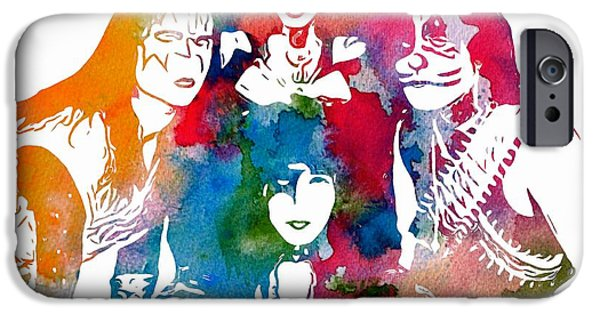 Pyrotechnics iPhone Cases - Kiss Watercolor Pop Art iPhone Case by Dan Sproul