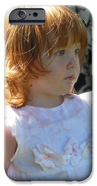 Child Pyrography iPhone Cases - Kissed by an angel iPhone Case by Janis  Cornish