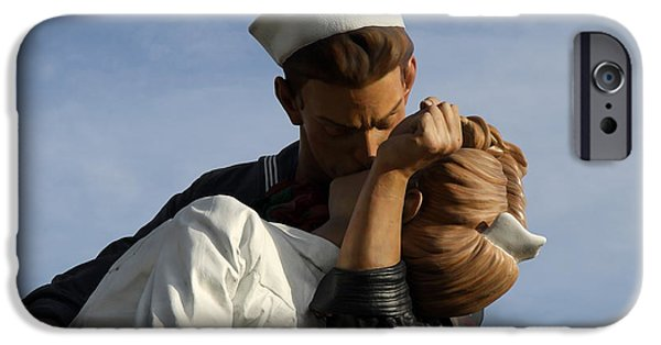 Statue Portrait iPhone Cases - Kissing Sailor And Nurse Portrait iPhone Case by Christiane Schulze Art And Photography
