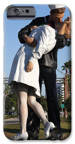 Figure iPhone Cases - Kissing Sailor - The Kiss - Sarasota iPhone Case by Christiane Schulze Art And Photography