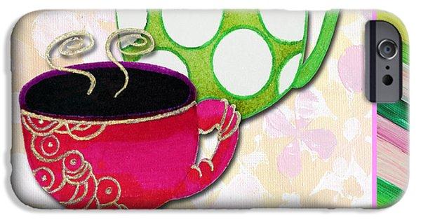 Tea Party Paintings iPhone Cases - Kitchen Cuisine Tea Party Napkin Design 1 by Romi and Megan iPhone Case by Megan Duncanson