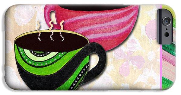 Tea Party Paintings iPhone Cases - Kitchen Cuisine Tea Party Napkin Design 3 by Romi and Megan iPhone Case by Megan Duncanson