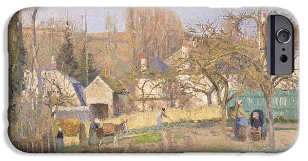 Impressionist Photographs iPhone Cases - Kitchen Garden At The The Lhermitage, Pontoise, 1874 Oil On Canvas iPhone Case by Camille Pissarro
