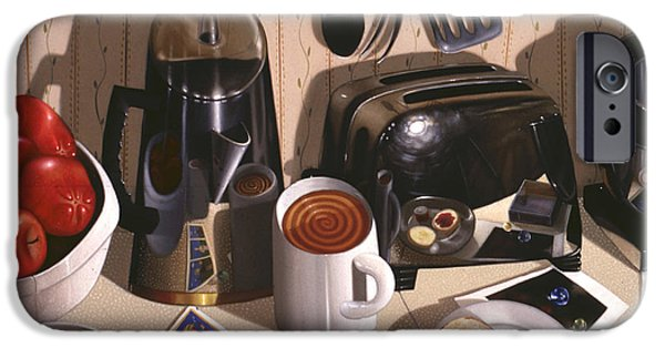 Still Life iPhone Cases - KITCHEN TABLE no.1 1994   Skewed perspective series 1991 - 2000 iPhone Case by Larry Preston