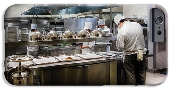 Waiter Photographs iPhone Cases - Kitchen - The chefs at the Eiffel Tower Restaurant iPhone Case by Mike Savad