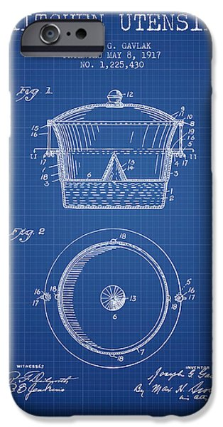 Cook iPhone Cases - Kitchen Utensil patent from 1917 - Blueprint iPhone Case by Aged Pixel