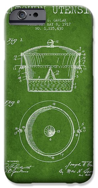 Cook iPhone Cases - Kitchen Utensil patent from 1917 - Green iPhone Case by Aged Pixel