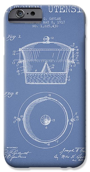 Cook iPhone Cases - Kitchen Utensil patent from 1917 - Light Blue iPhone Case by Aged Pixel