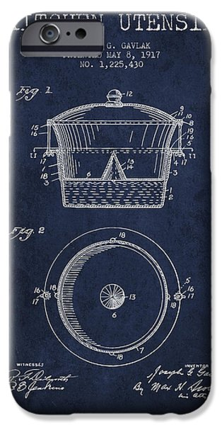 Cook iPhone Cases - Kitchen Utensil patent from 1917 - Navy Blue iPhone Case by Aged Pixel