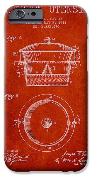 Cook iPhone Cases - Kitchen Utensil patent from 1917 - Red iPhone Case by Aged Pixel