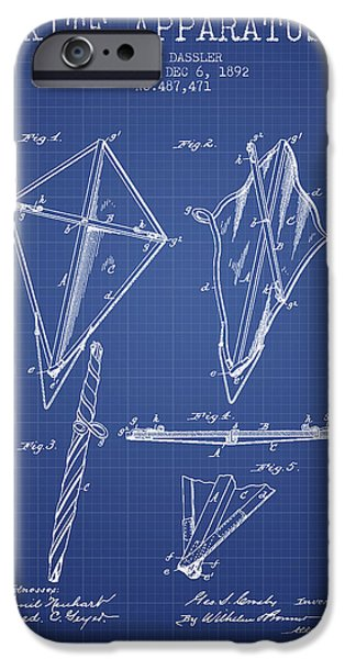 Kite iPhone Cases - Kite Apparatus Patent from 1892 - Blueprint iPhone Case by Aged Pixel