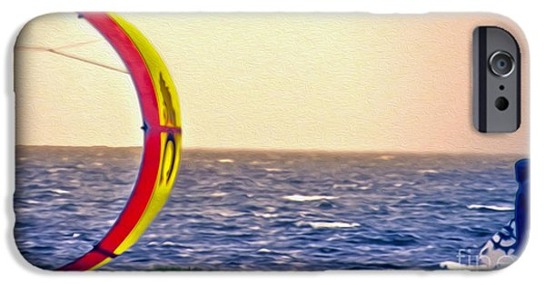 Kite Boarding iPhone Cases - Kite Boarder 2 iPhone Case by Dawn Gari