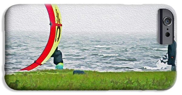 Kite Boarding iPhone Cases - Kite Boarder iPhone Case by Dawn Gari
