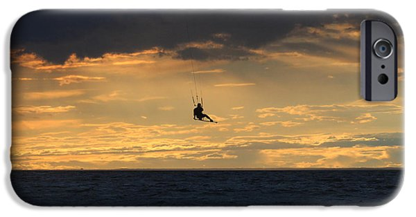 Kite Boarding iPhone Cases - Kite Boarding West Meadow Beach New York iPhone Case by Bob Savage