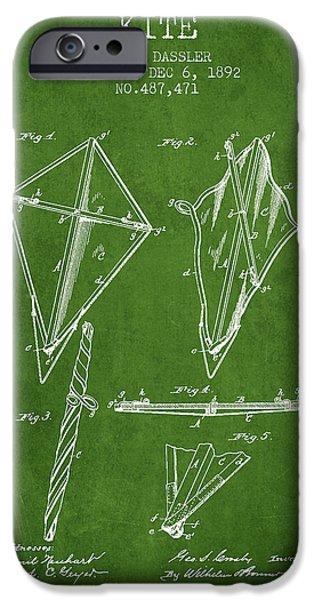 Kite iPhone Cases - Kite Patent from 1892 - Green iPhone Case by Aged Pixel