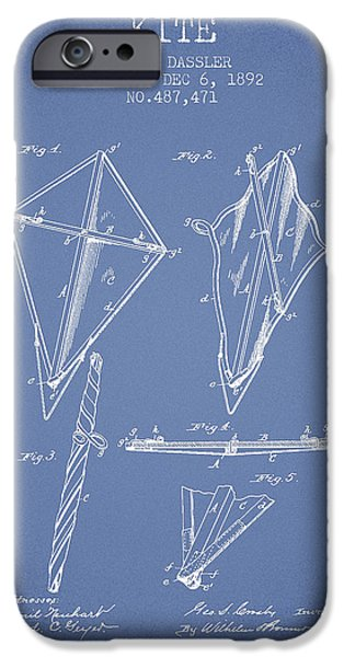 Kite iPhone Cases - Kite Patent from 1892 - Light Blue iPhone Case by Aged Pixel