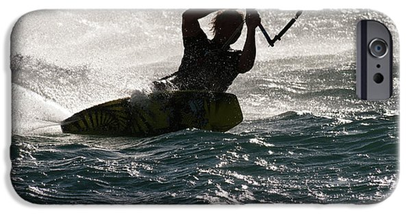 Kite Boarding iPhone Cases - Kite Surfer 02 iPhone Case by Rick Piper Photography