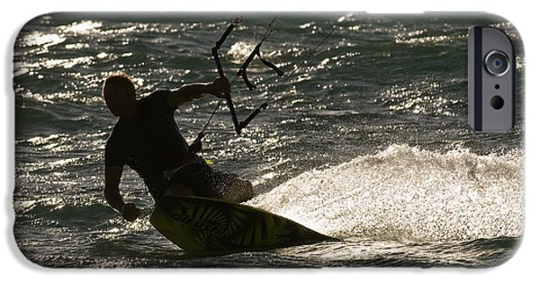 Kite Boarding iPhone Cases - Kite Surfer 03 iPhone Case by Rick Piper Photography