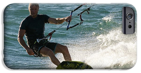 Kite Boarding iPhone Cases - Kite Surfer 05 iPhone Case by Rick Piper Photography
