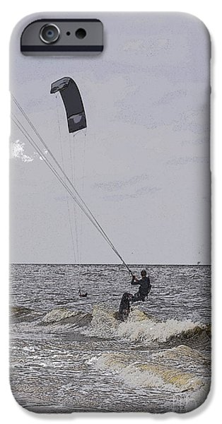 Kiteboarding iPhone Cases - Kite surfer iPhone Case by Patricia Hofmeester