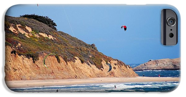Ano Nuevo iPhone Cases - Kite Surfers iPhone Case by Bob Wall