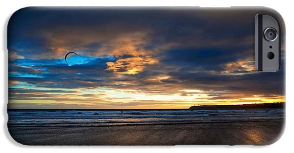Kite Surfing iPhone Cases - Kite Surfers On Tramore Beach iPhone Case by Panoramic Images