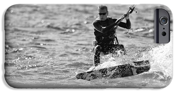Kite Surfing iPhone Cases - Kite Surfing Black And White iPhone Case by Dan Sproul