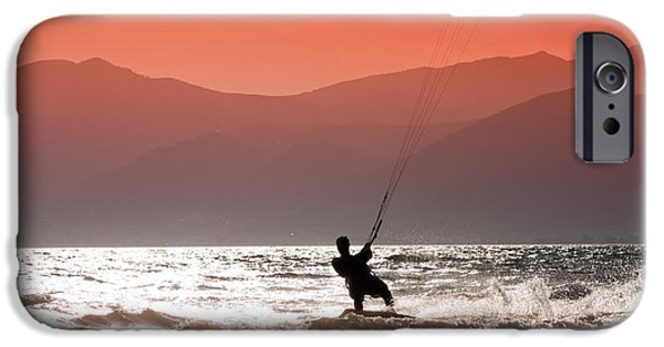 Kiteboarding iPhone Cases - Kite surfing iPhone Case by Gabriela Insuratelu