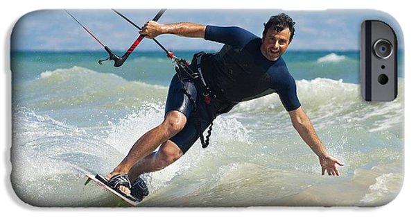 Kite Surfing iPhone Cases - Kite Surfing In Front Of Hotel Dos iPhone Case by Ben Welsh