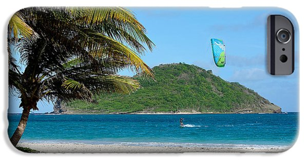 Kite Surfing iPhone Cases - Kite Surfing in St. Lucia iPhone Case by Brendan Reals