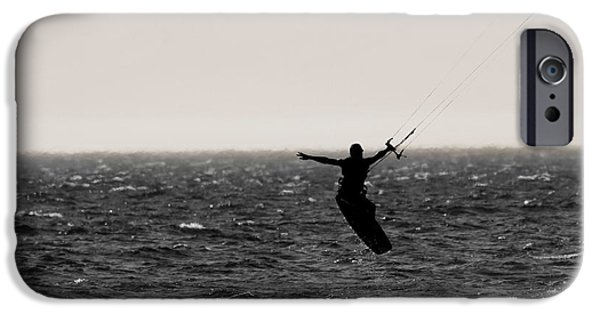 Kite Surfing iPhone Cases - Kite Surfing Pose iPhone Case by Dan Sproul