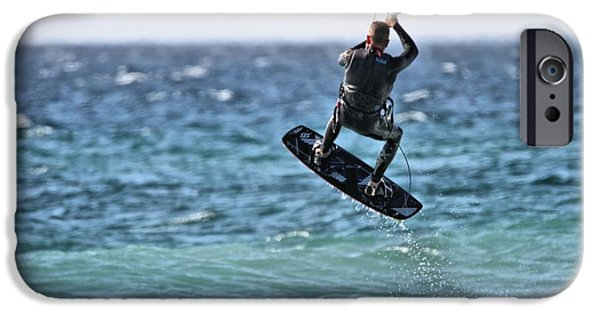 Kite Surfing iPhone Cases - Kite Surfing Take Off iPhone Case by Dan Sproul