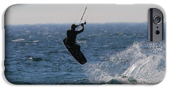 Kite Surfing iPhone Cases - Kite Surfing Wakeboard iPhone Case by Dan Sproul