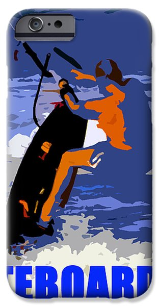 Kite Boarding iPhone Cases - KITEBOARDER blue smartphone  iPhone Case by David Lee Thompson