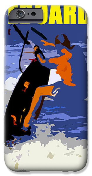 Wind Surfing Art iPhone Cases - kITEBOARDER smart phone art iPhone Case by David Lee Thompson
