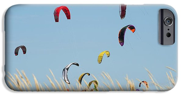 Kite Surfing iPhone Cases - Kites Of Kite Surfers In Front Of Hotel iPhone Case by Ben Welsh