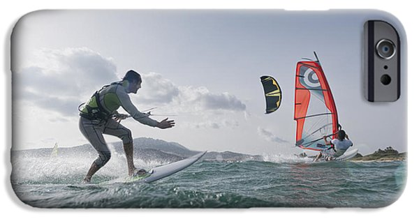 Sail Board iPhone Cases - Kitesurfer And Windsurfer iPhone Case by Ben Welsh