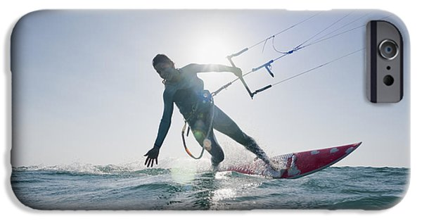 35-39 Years iPhone Cases - Kitesurfer Illuminated By The Sunlight iPhone Case by Ben Welsh