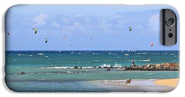 Kiteboarding iPhone Cases - KiteSurfin Kanaha Beach iPhone Case by DJ Florek