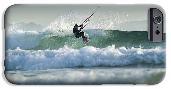 Luz iPhone Cases - Kitesurfing Tarifa Cadiz Andalusia Spain iPhone Case by Ben Welsh