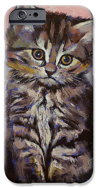 Collectibles Paintings iPhone Cases - Kitten iPhone Case by Michael Creese