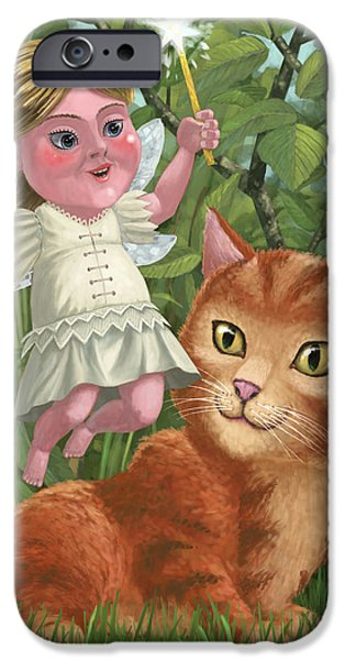 kitten with girl fairy in garden iPhone Case by Martin Davey