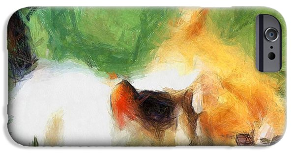 Young Paintings iPhone Cases - Kittens 12 iPhone Case by Victor Gladkiy