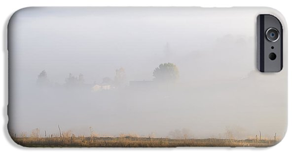 Fog Mist iPhone Cases - Kittitas Valley Farm iPhone Case by Mike  Dawson